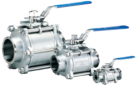 Sanitary 3 Piece 316 Stainless Steel Ball Valve #366FC-SV