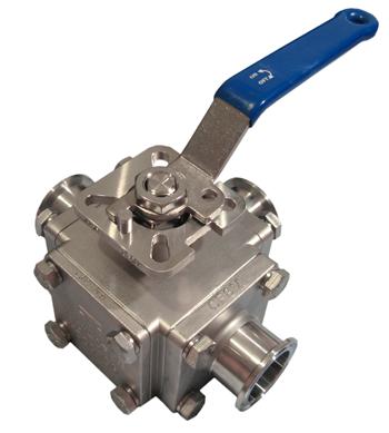 Sanitary 3 Way 316 Stainless Steel Ball Valve #3L66FCSV/3T66FCSV